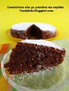 Κέικ μπανάνας με κακάο και καρύδια και ελαιόλαδο Cheesecake Cupcakes, Breakfast Snacks, Cheesecakes, Sweet Recipes, Cupcake Cakes, Food And Drink, Pudding, Sweets, Sugar