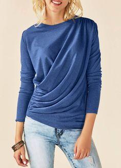 Draped Round Neck Long Sleeve Blue T Shirt | liligal.com - USD $30.64