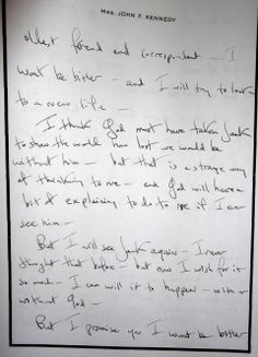 A letter sent to Father Joseph Leonard from Jacqueline Kennedy in 1964. (John F. Kennedy Presidential Library)
