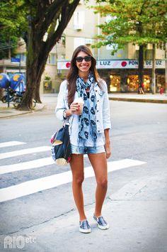 TPM Moderna: Look Amor do Dia - Pashmina + Shorts Jeans