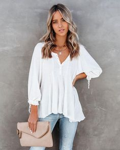 Tops – Page 20 – VICI White Flowy Top, Flowy Tops, White Tops, Spring Tops, Summer Tops, Spring Summer, Dress Bar, Henley Top, Hippie Outfits