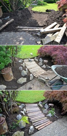Wood pallet walkway. I can't wait until I have a house to design adorable stuff like this.