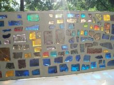 A cement, stained glass wall in the yard would be delightful! Let the sun shine . A cement, staine Glass Wall Design, Glass Wall Art, Glass Walls, Earthship, Mosaic Glass, Stained Glass, Mosaic Wall, Glass Brick, Bottle Wall