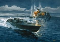 "Image Detail for - Action in the Slot"" Tom Freeman WWII PT Boat Artist Proof - PT-124 ..."