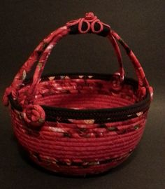 Sweet Cherries, coiled fabric basket by JKTextileArts on Etsy https://www.etsy.com/listing/220612610/sweet-cherries-coiled-fabric-basket