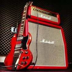 Red Gibson SG and Red Marshall Amp                                                                                                                                                                                 More