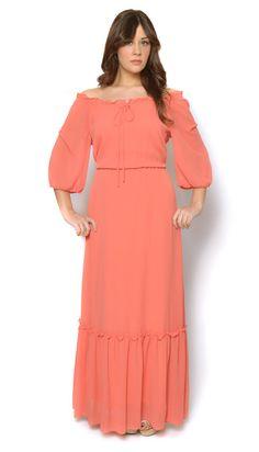 70s Peasant Dress Coral Orange Sheer Maxi by GravelGhostVintage