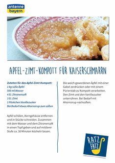 Kaiserschmarrn mit Apfel-Zimt-Kompott   ANTENNE BAYERN Sweets, Breakfast, Desserts, Recipes, Food, Maple Syrup, Kaiserschmarrn, Cinnamon, Apple