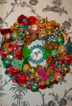 old christmas ornament on wreath