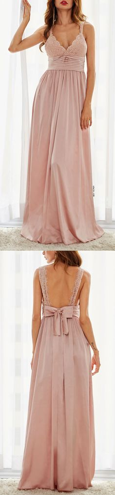 Pink Triangle Lace Top Pleated Waist Slip Dress