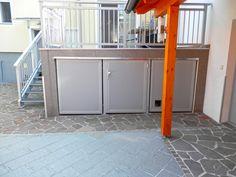 Nützen Sie den Platz unter Ihrer Terrasse! Mülltonnen sehr gut versteckt mit Lochblechtüren. Divider, Furniture, Home Decor, Patio, Products, Decoration Home, Room Decor, Home Furnishings, Home Interior Design