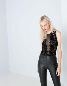 Bershka United Kingdom - Bershka lace bodysuit jumpsuit