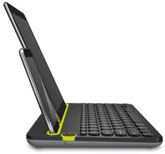 The new Logitech Multi-device keyboard is one of the easiest to use with up to 3 Bluetooth enabled devices. Using a dial on the keyboard, you can seamlessly switch between your devices, and thanks to the built-in cradle, keeping a table or a smartphone at eye-level is done without the need for any additional accessories