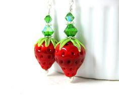 Strawberry Earrings Berry Earrings Fruit by GlassRiverJewelry