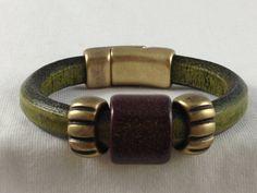 Regaliz leather bracelet with handmade ceramic bead by PinkLouLous, $50.00