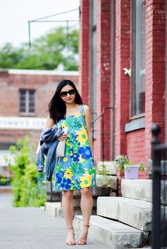 Floral Dress with Nude Sandals and Denim Jacket