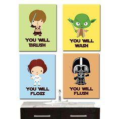 Star Wars Bathroom Wall Art - Jedi Mind Trick - Bathroom Rules -Kid's Wall Art 4 - Prints -Archival Paper via Etsy. Star Wars Bathroom, Bathroom Rules, Bathroom Wall Art, Star Wars Set, Star Wars Kids, Art Wall Kids, Art For Kids, Decoracion Star Wars, Mind Tricks