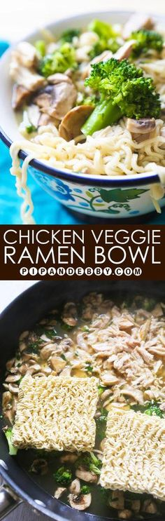 Chicken Veggie Ramen Bowls | Repurpose Ramen noodles to cater them to you liking! Packing them with veggies makes them healthy but they are still so delicious!
