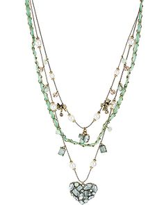 MINT 3 ROW HEART ILLUSION NECKLACE MINT accessories jewelry necklaces fashion