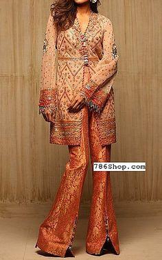 Peach/Orange Chiffon Suit   Buy Pakistani Fashion Dresses and Clothing Online in USA, UK Pakistani Dresses Online Shopping, Pakistani Formal Dresses, Online Dress Shopping, Pakistani Designer Clothes, Pakistani Designers, Indian Designer Outfits, Designer Party Dresses, Party Suits, Peach Orange