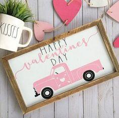 My Funny Valentine, Happy Valentines Day Sign, Valentines Day Photos, Valentines Day Decorations, Valentine Day Crafts, Holiday Crafts, Valentine Party, Valentine Ideas, Pink Truck