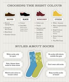 MEN'S BASICS: CHOOSING THE RIGHT COLOR SHOE FOR YOUR OUTFIT AND RULES ABOUT SOCKS.---> FOLLOW US ON PINTEREST for Style Tips, Men's Basics,  Men's Essentials on anything, OUR SALES etc... ~~~ #VujuWear