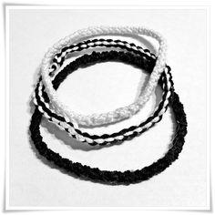 Trío de pulseras crochet en ByN