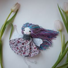Fairy rag cloth doll, textile tiny fabric doll, handmade soft doll modern Heirloom doll, ooak art tilda doll yarn hair Embroidered face doll by CandyStones on Etsy