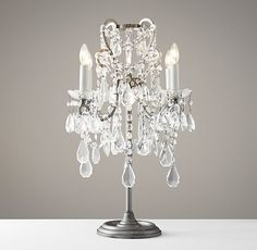Light on console Manor Court Crystal Table Lamp Aged Pewter