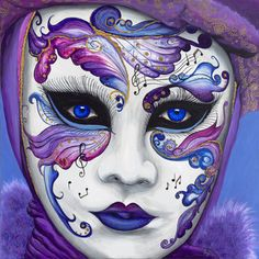 Purple Carnival Mask Print by PattyVicknairARTIST on Etsy