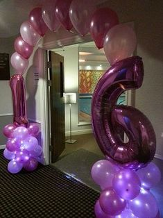 Pink Tree 16th Birthday balloon arch www.pinktreeparties.co.uk giant pink number balloons with LED base at The Dalmeny Hotel St Annes