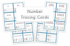 Number tracing cards - free preschool printables