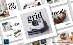 Vendors Social Media Banner, Social Media Template, Grid, Mobile Ui Design, Public Profile, Instagram Design, Magazine Template, Marketing, Website Template