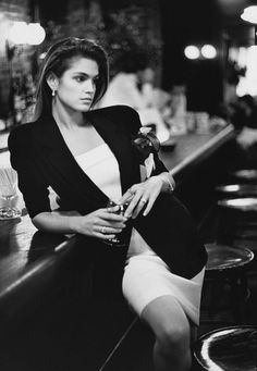 "Cindy Crawford in the early ""Baby Gia' days, 1988 -- she was rushed to print because of her likeness to fallen super model Gia Carangi (1960-1986).  Cindy surpassed and improved on Gia's career, shortly staking her own claim in the fashion world."
