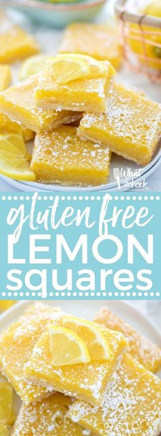 Easy and delicious gluten free lemon squares. They're not too tangy and just sweet enough! Perfect for Easter, bridal showers, baby showers, or any dessert table. Recipe from @whattheforkblog | AD by @bobsredmill BobsSpringBaking | whattheforkfoodblog.com |  lemon bars | gluten free desserts | easy gluten free recipes | Spring desserts | lemon custard with shortbread crust | best recipes | gluten free baking