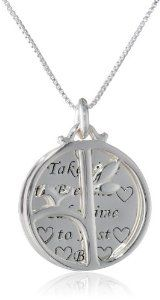 "Sterling Silver ""Take Time To Breathe Take Time To Just Be"" and ""Be"" with Open Circle Tree Reversible Pendant Necklace, 18"""