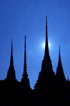 Wat Po Spires at moonlight - Bangkok, Thailand, Asia Copyright: izzet keribar