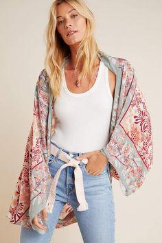 Leah Kimono by Anthropologie in Blue Size: All, Women's Tops Women's Kimono Cardigan, Kimono Outfit, Kimono Fashion, Kimono Top, Bohemian Kimono, Capes For Women, Short Kimono, Classic Style Women, Long Shorts