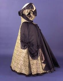 1st lady Frances Cleveland wore this silk evening gown with fur-edged hem and black-satin-and-jet trim during her husband's 2nd administration.