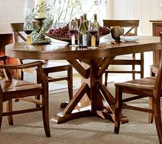 Benchwright Extending Pedestal Dining Table #potterybarn - Perfect for a banquette seating area