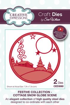 Creative Expressions Craft Dies by Sue Wilson - Festive Collection - Cottage Snow Globe Scene Christmas Snow Globes, Christmas Rose, Christmas Cards To Make, Christmas Crafts, New Crafts, Creative Crafts, Paper Crafts, Sue Wilson, Paper Dolls
