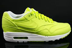 new arrival 63e6f 74acd Nike Air Max 1 Heren Sneakers Neon Geel Wit Grijs,HOT SALE .
