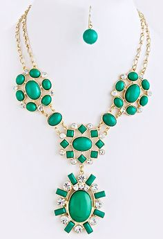NEW:  Forget Me Not Sunburst Necklace Set Green $32 Free US Shipping www.popofchic.com
