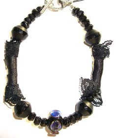 Artisan Glass, Black Lace and Onyx Bracelet Made In The USA by Andreas Jewelry
