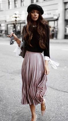 Super Herbst Outfit Hut Plus Top Plus Heels Plus Midi Pleast Rock - Mode Inspiration Classy Outfits, Beautiful Outfits, Casual Outfits, Casual Heels, Nice Outfits, Work Outfits, Modest Fashion, Fashion Outfits, Womens Fashion