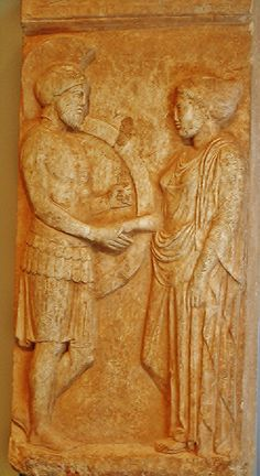Marble Gravestone of Philoxenos and Philoumene, Greek, made in Athens about 400 BC, Getty Villa, Malibu California.