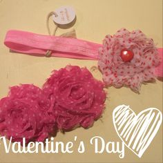 Children's homemade headbands and hair bow- Valentine's Day