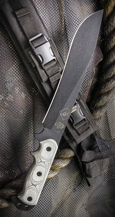 Tops Knives ATRD01 Armegeddon Fixed Blade Bowie Knife with Black Linen Micarta Handles & Black Ballistic Nylon Sheath with Kydex Liner