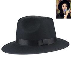 Smosee Vintage Unisex Blower Wool Felt Fedora Trilby Derby Jazz Cap (Black)