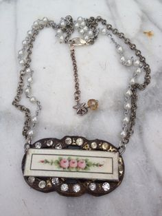 Vintage enamel guilloche sterling roses by funkyjunkmama on Etsy, $45.00